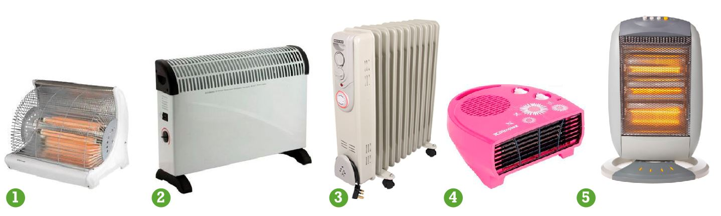 heat parade electric 1 radiant bar fire 2 convector heater 3